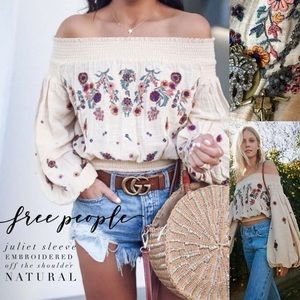 Free people embroidered off shoulder top